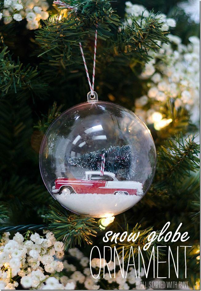 Snow Globe Ornament Diy snow globe, Bottle brush trees