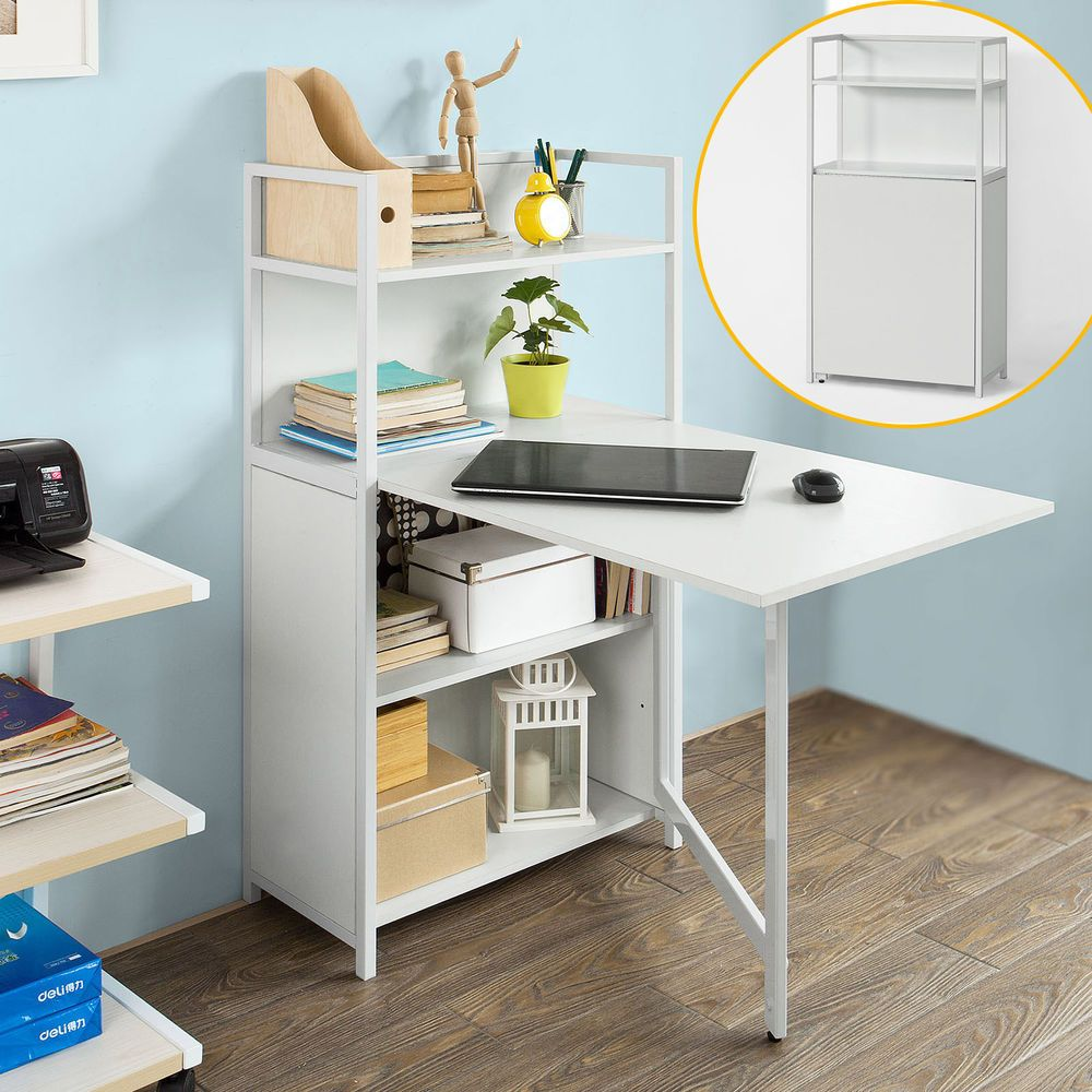 Sobuy®folding Laptop Desk Table With 4 Tiers Bookcase