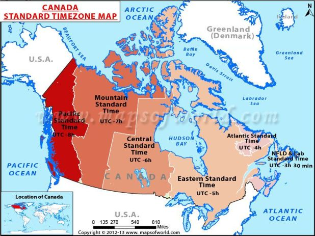 Image result for map showing canada time zones