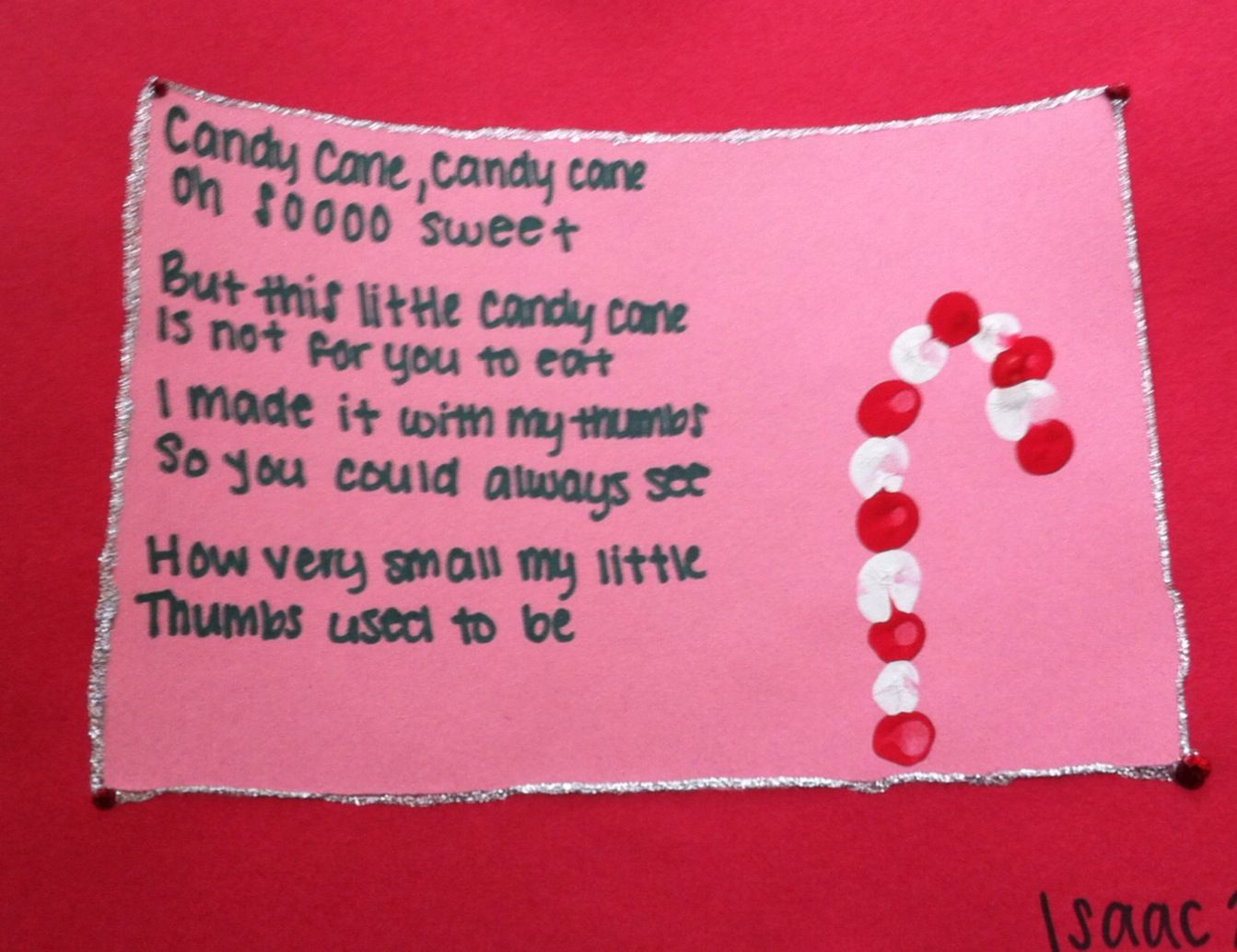 Candy Cane Poem Red And White Thumbprints Construction