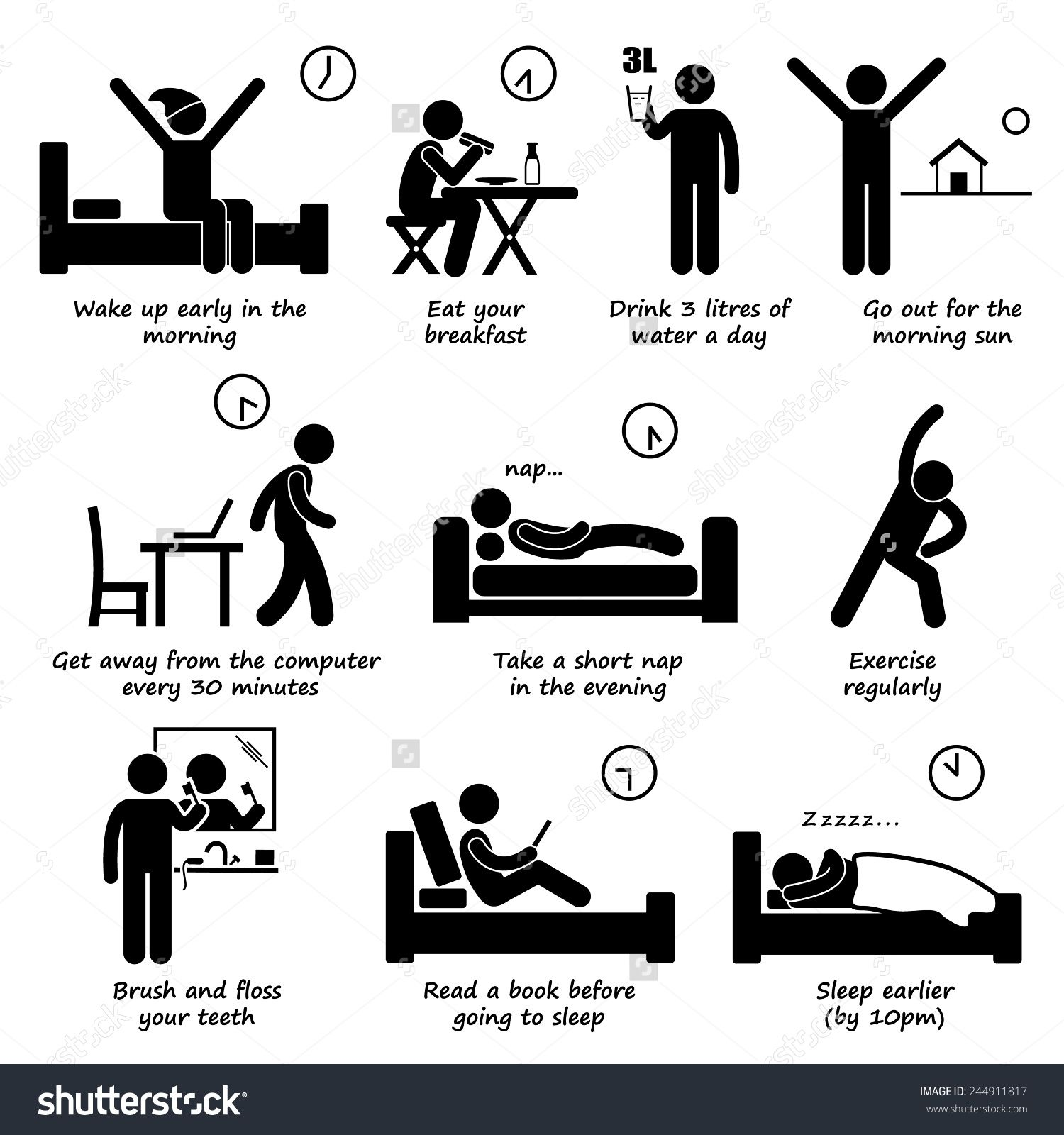 Stock Vector Healthy Lifestyles Daily Routine Tips Stick