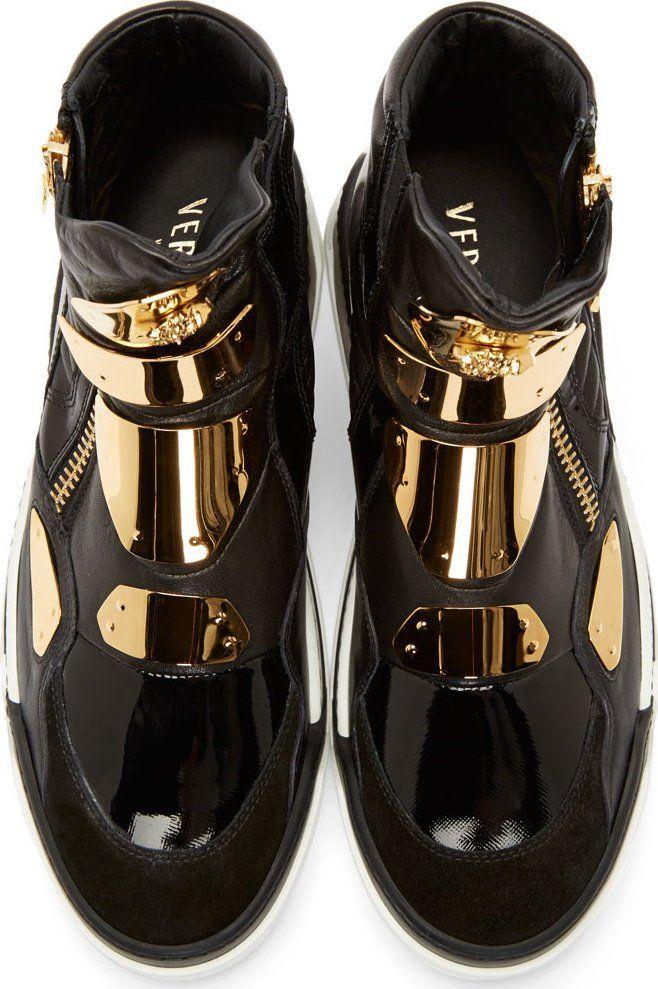Versace Black Leather GoldPlated Sneakers men sneakers
