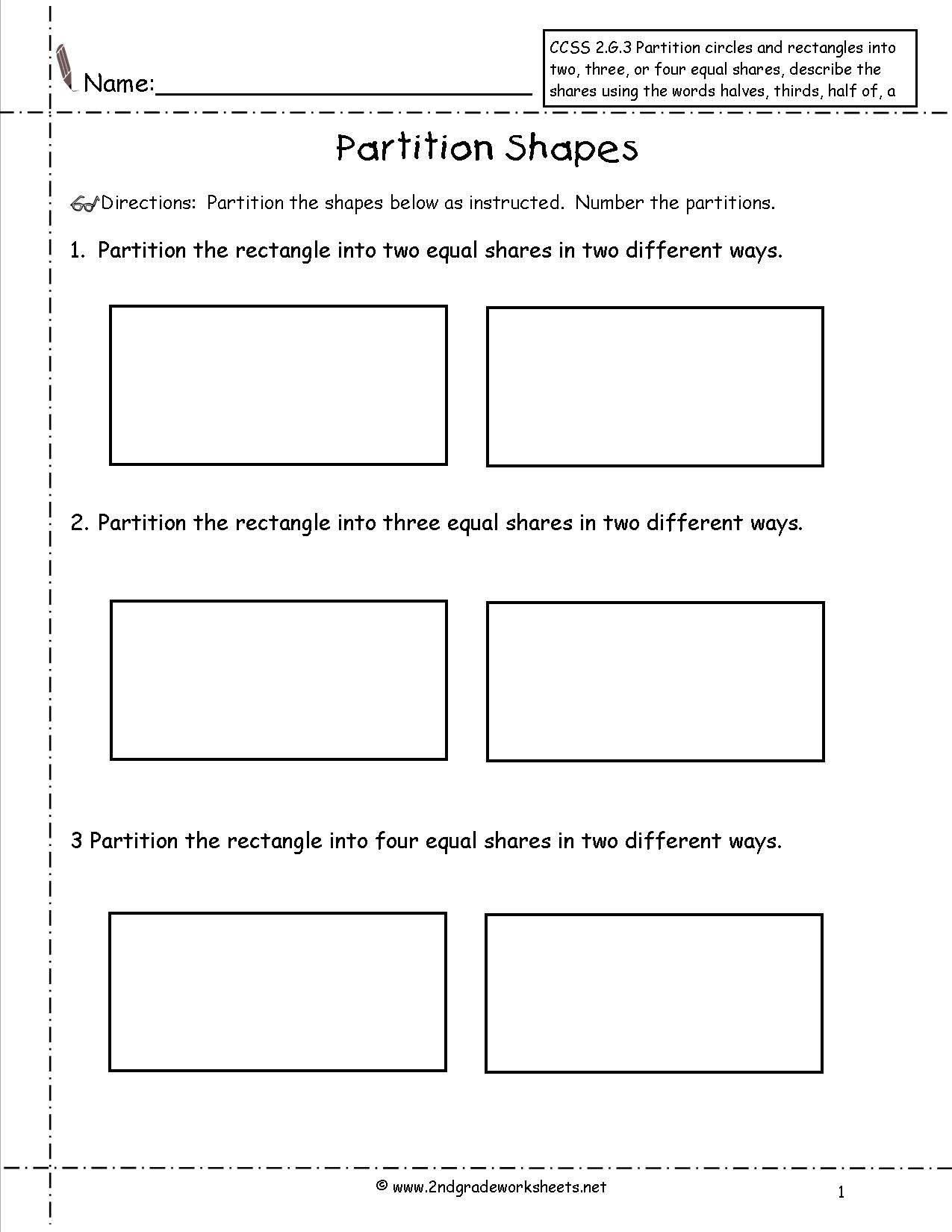 Partitioning Shapes Into Equal Parts Worksheet