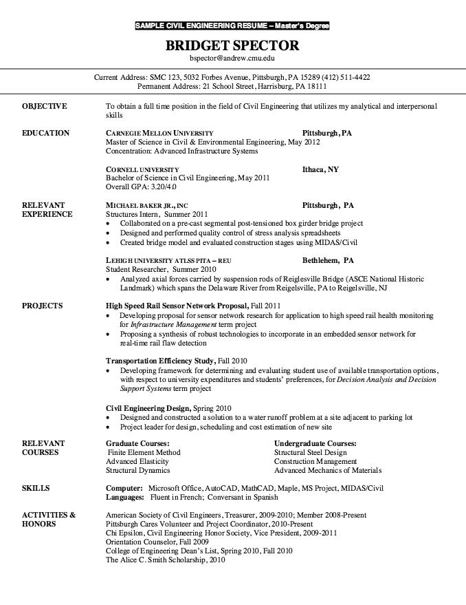 Resume for Master Degree Civil Engineering http