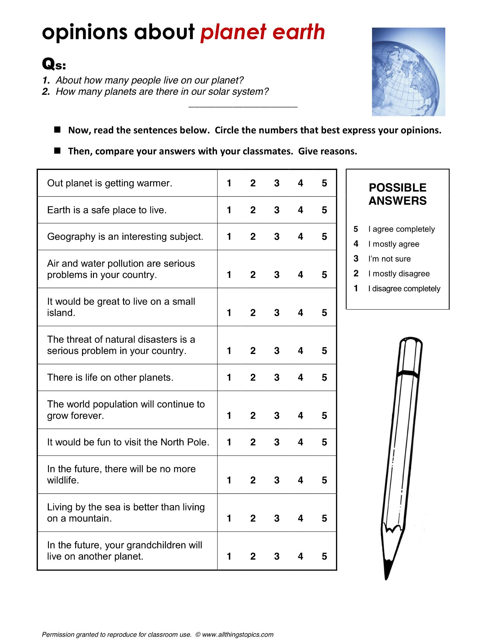 Planet Earth Worksheet