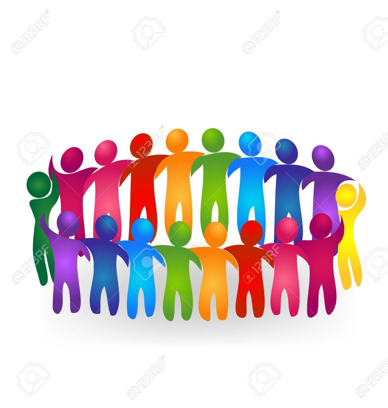 Vector Teamwork Meeting People Logo Royalty Free Cliparts