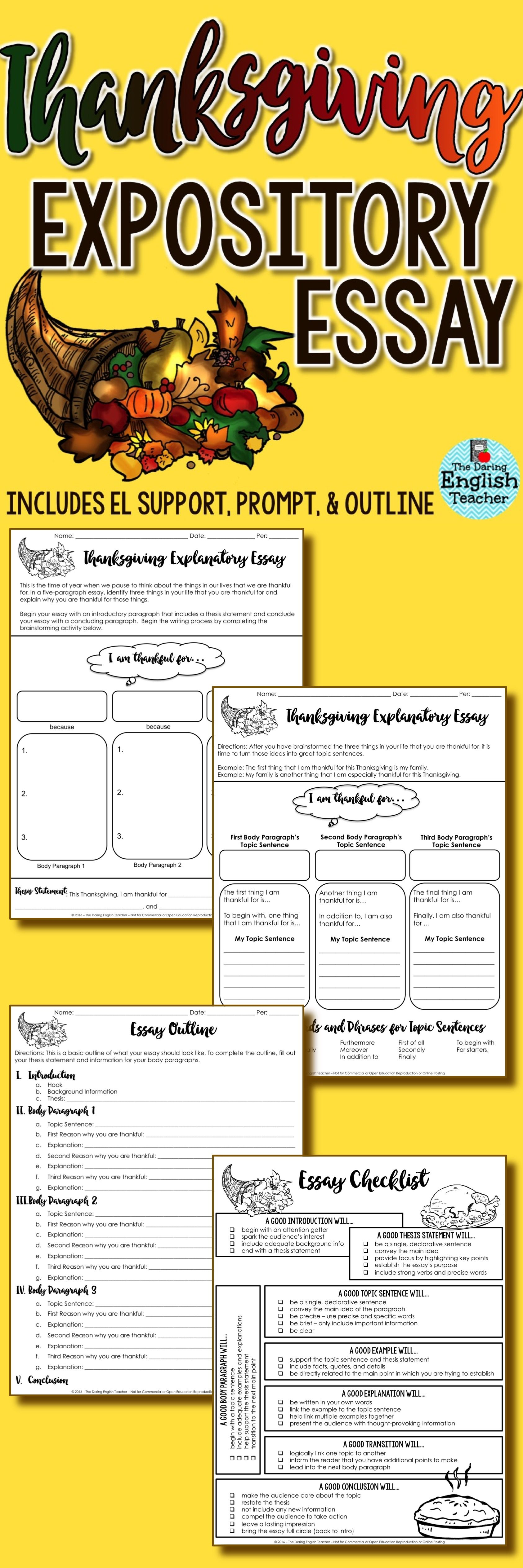 Thanksgiving Expository Writing For Middle School And High