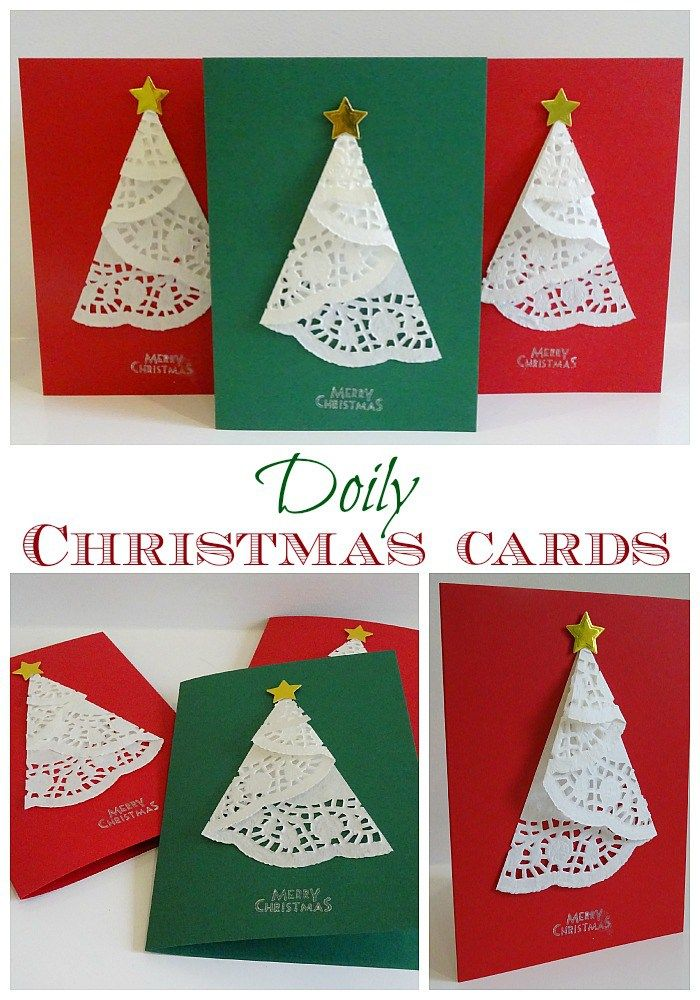 Doily Christmas cards Very simple to make! DIY