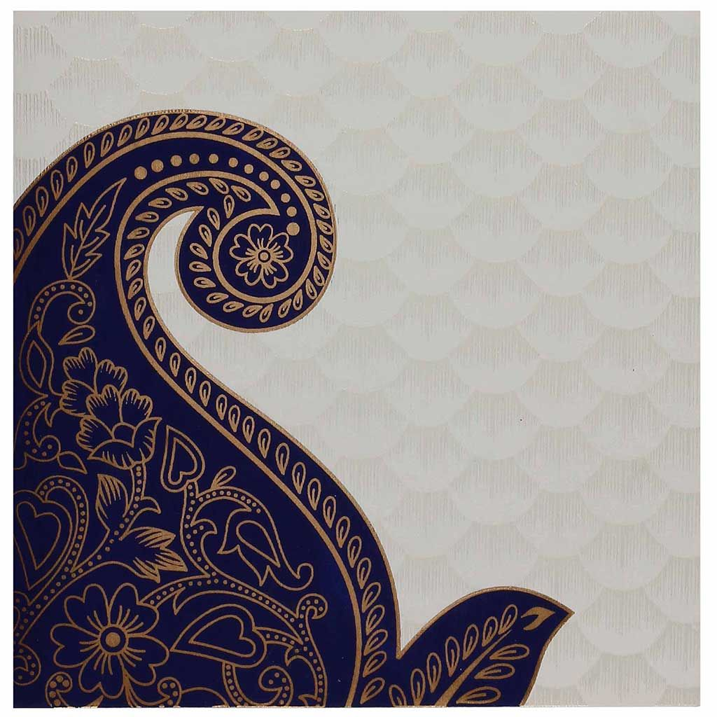 Indian Wedding Card in Cream and Golden with Blue Paisley
