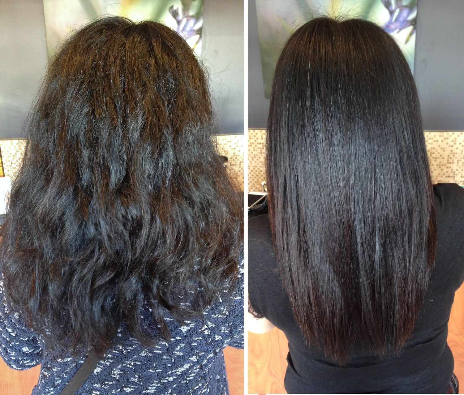 Keratin Before & After Our Work! Only at Salon