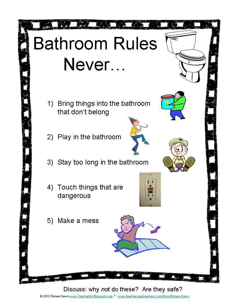Bathroom Rules Bathroom rules, Bathroom pass and