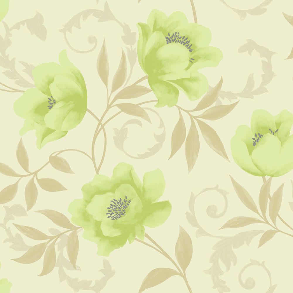 K2 Vintage Feature Wallpaper LimeCream 10581 At