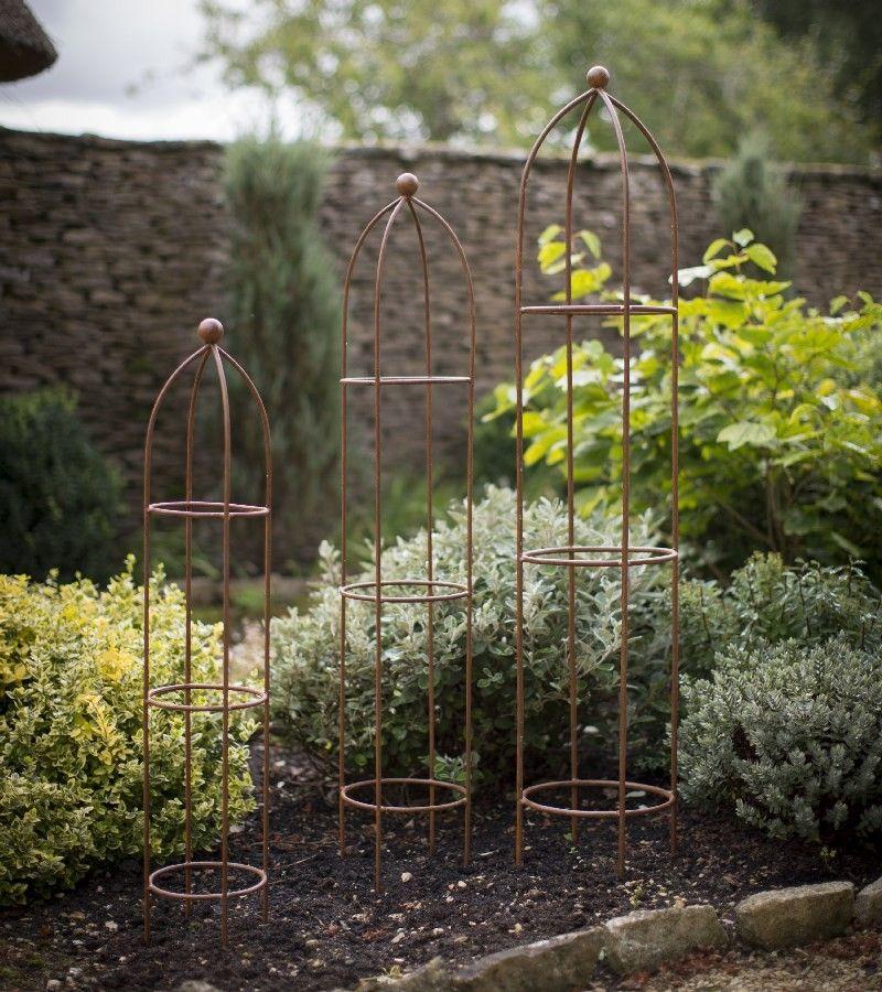 Garden Obelisk Aged Metal Planting Supports Pack of 3