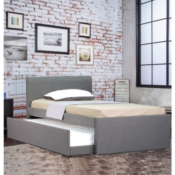 Selina Fabric King Single Bed Frame Grey W Trundle Ping Beds