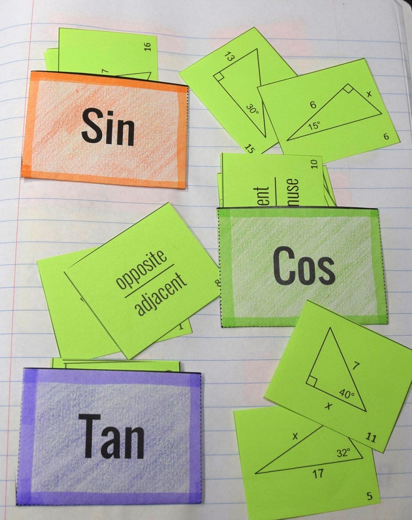 Sin Cos Tan Card Sort