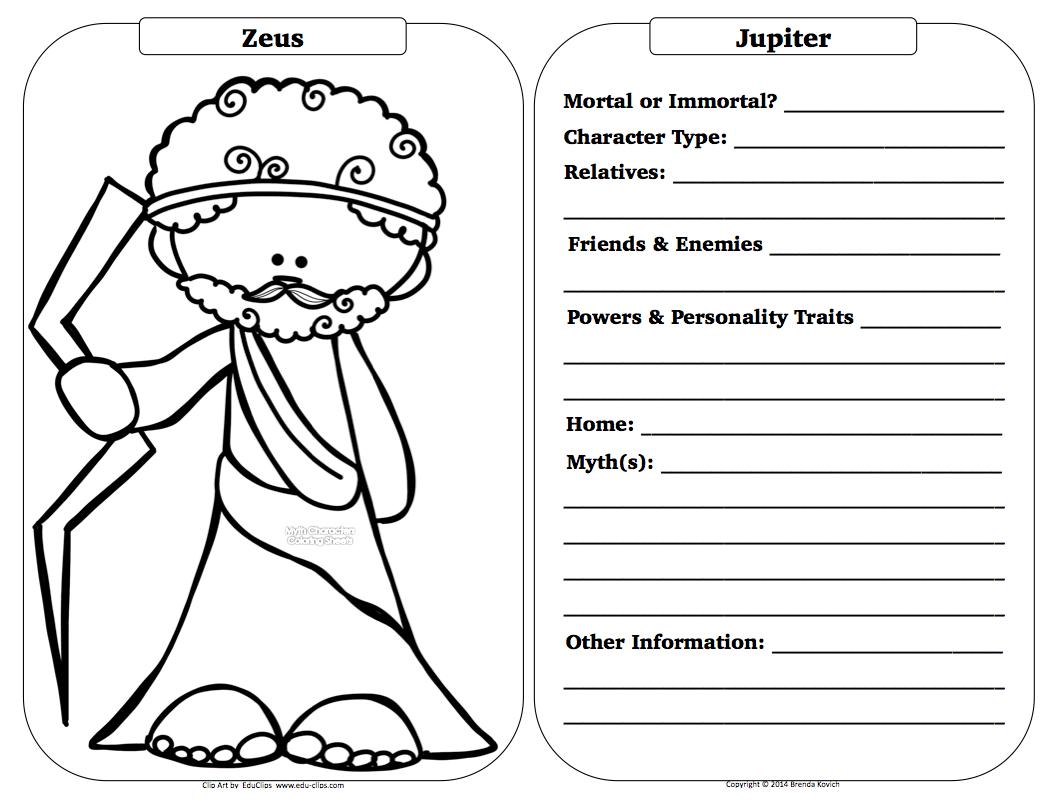 Teaching Seriously Greek Mythology Character Sheets