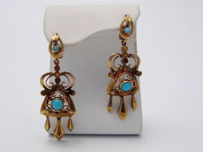 Victorian 18k Yellow Gold Turquoise Amber Chandelier Earrings Unbranded