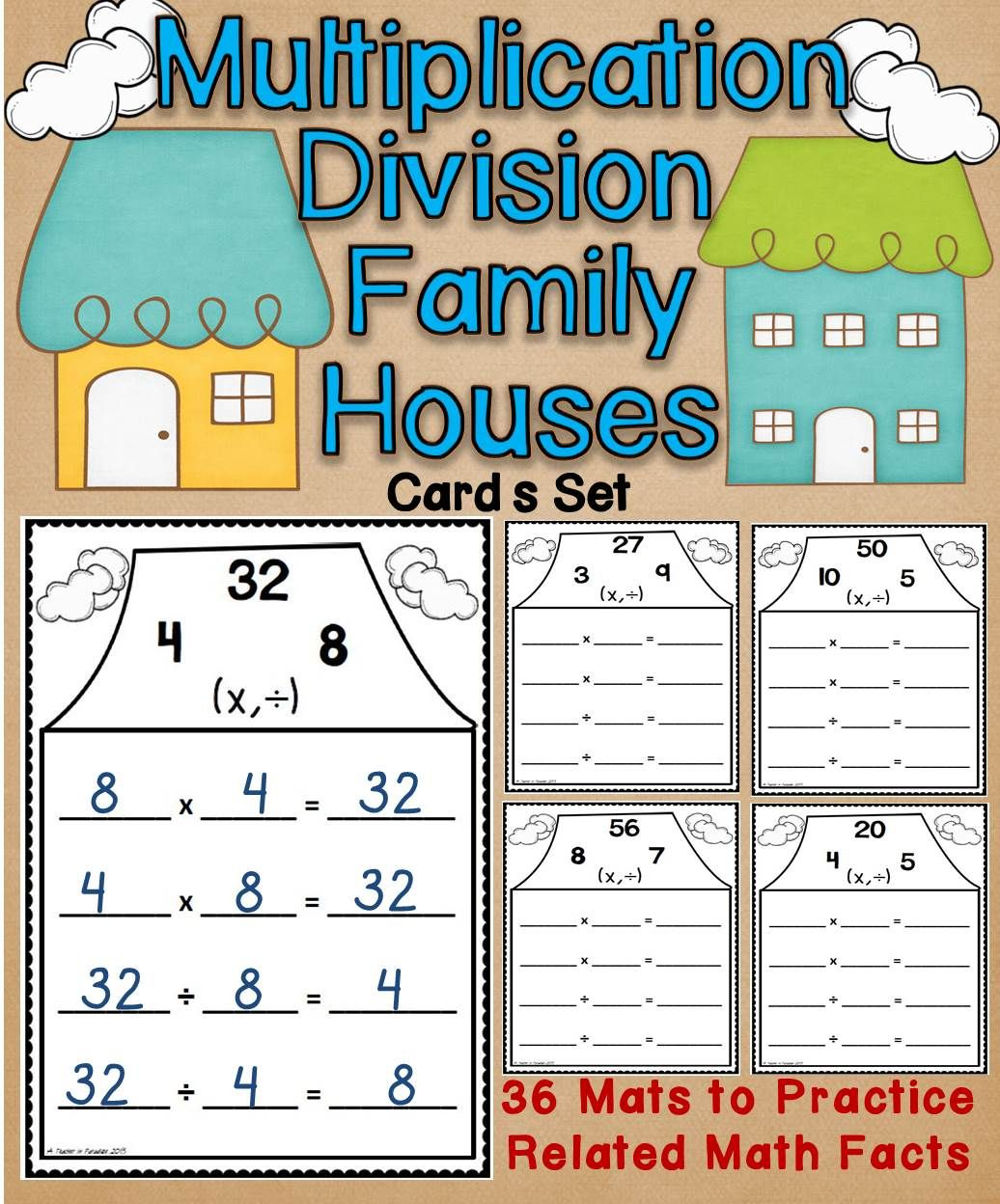 Multiplication Division Fact Families Houses Wipe Off Mats