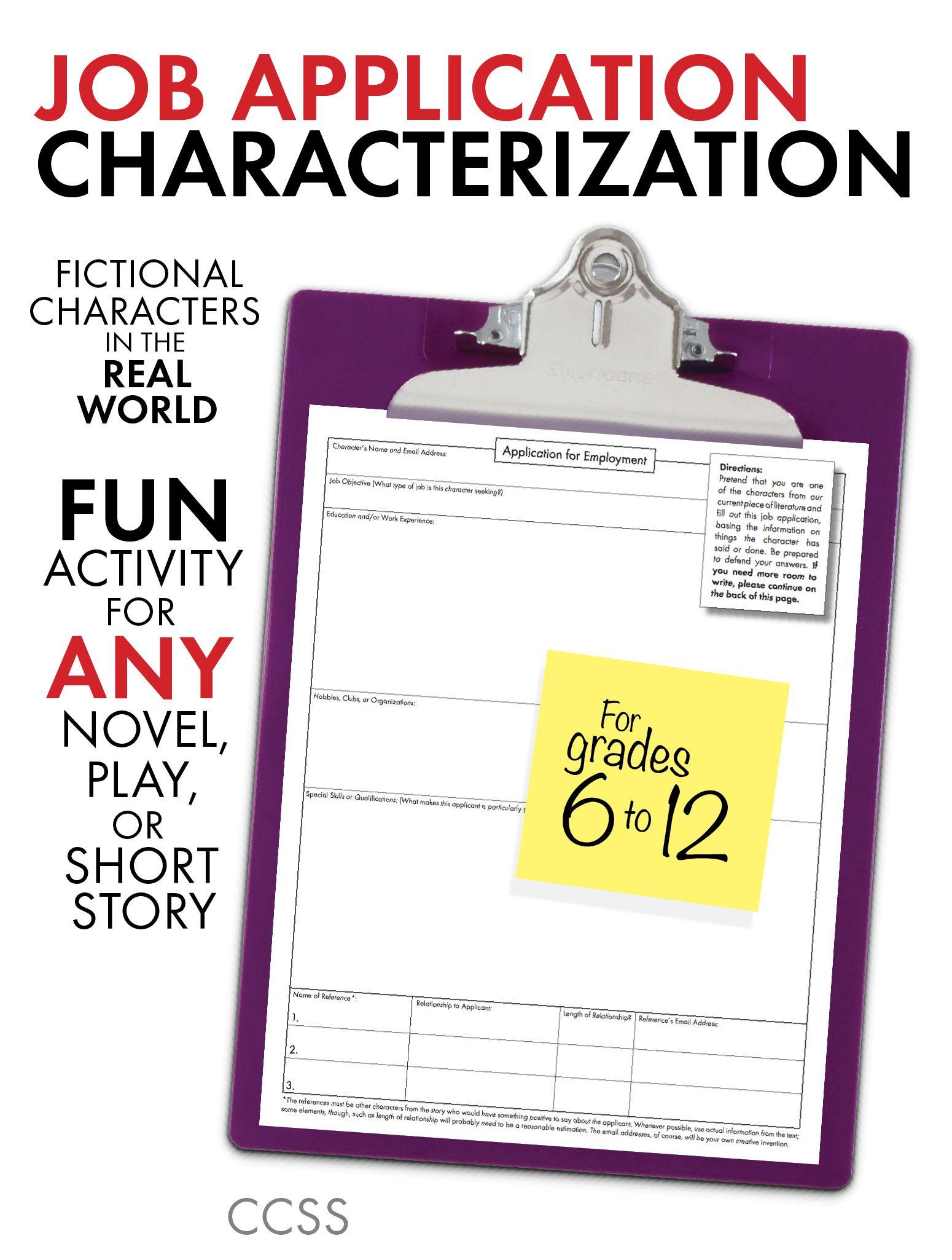 Job Application Characterization Fun Stuff Use With Any