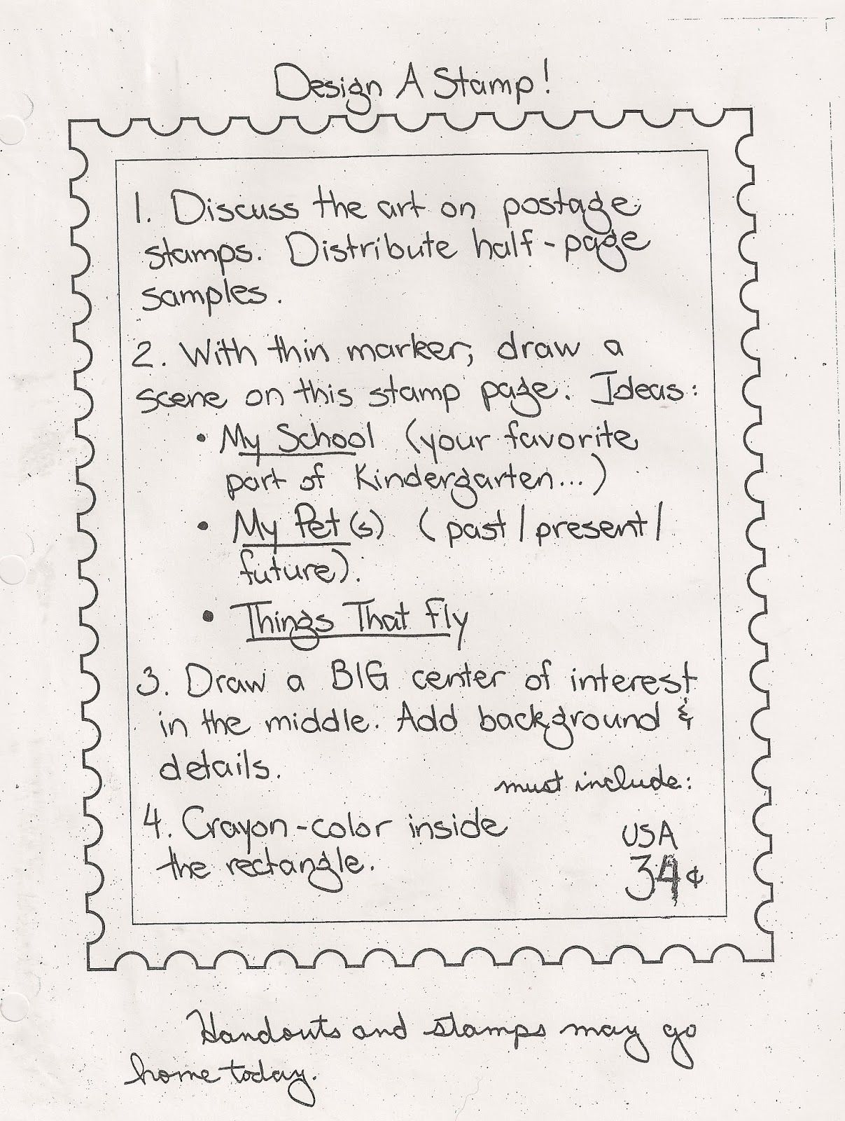 Design A Postage Stamp Handout Or Easy To Teach Art Sub