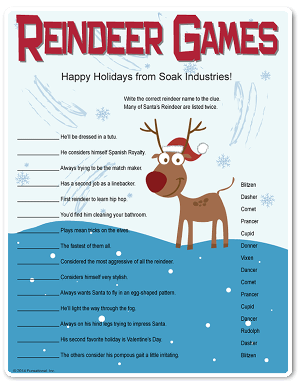Printable Reindeer Games they're like fun riddles...who