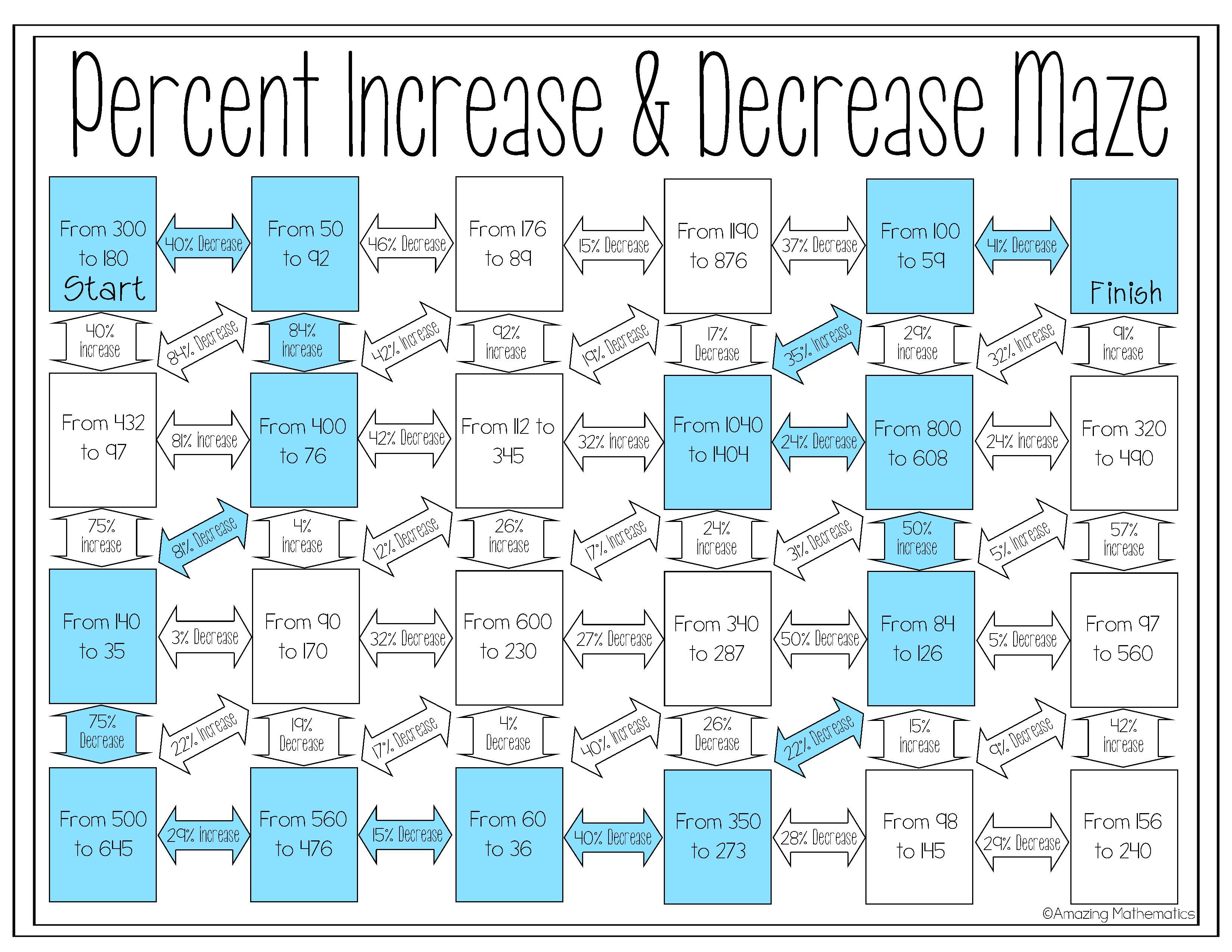 Percent Increase And Decrease Maze