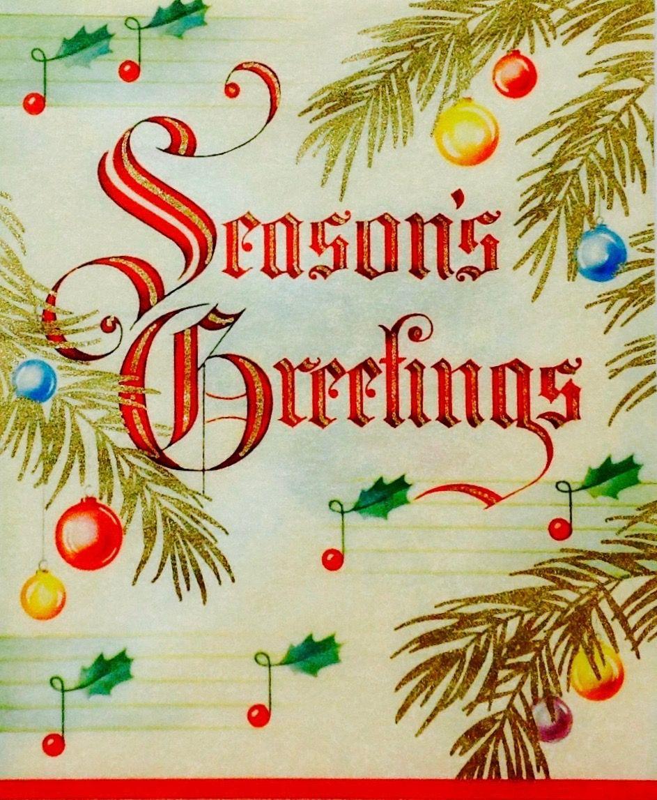 Season's Greetings. Vintage Christmas Card. Retro