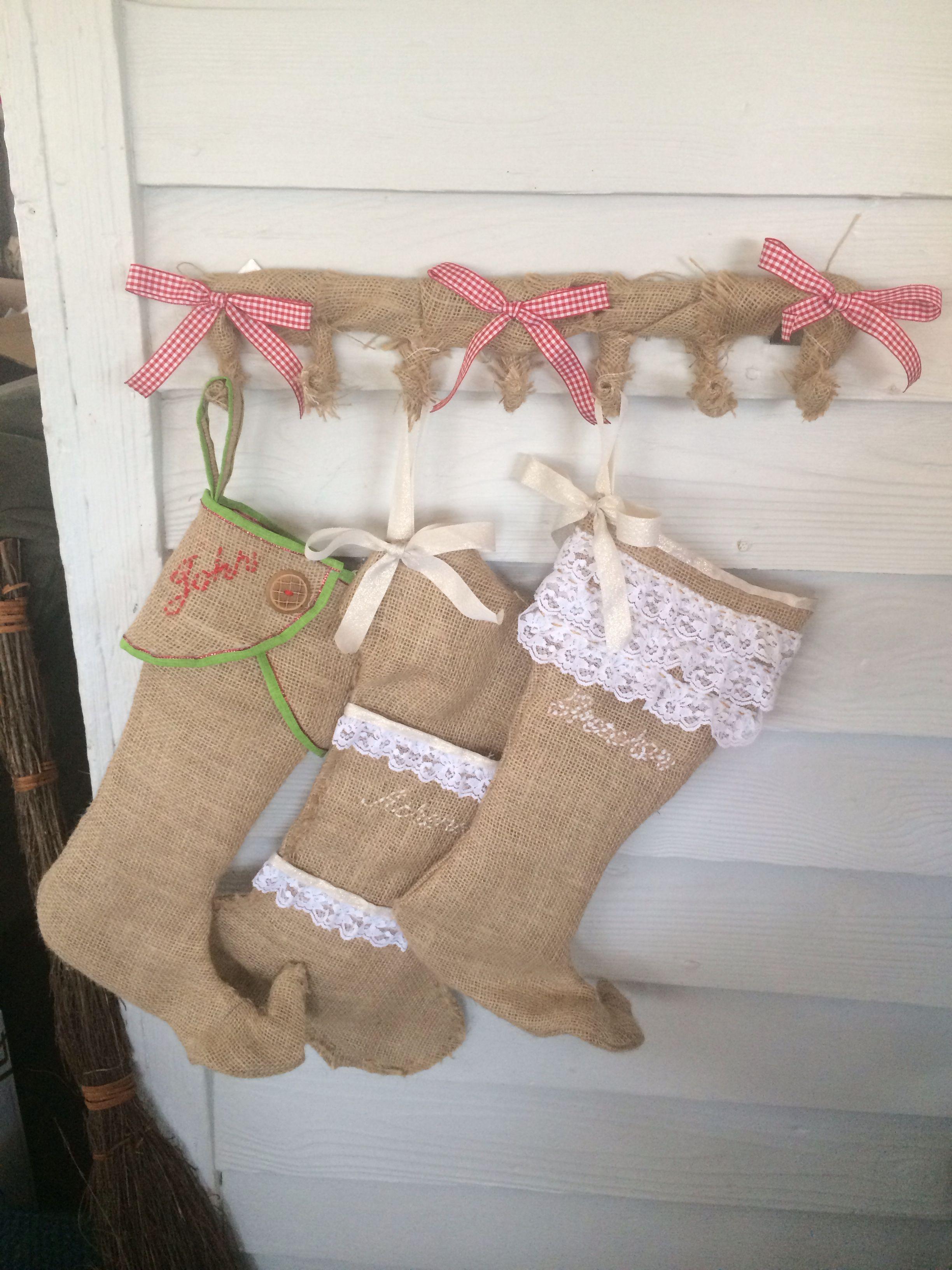My 2 stocking hanger. Hanger from dollar tree that I