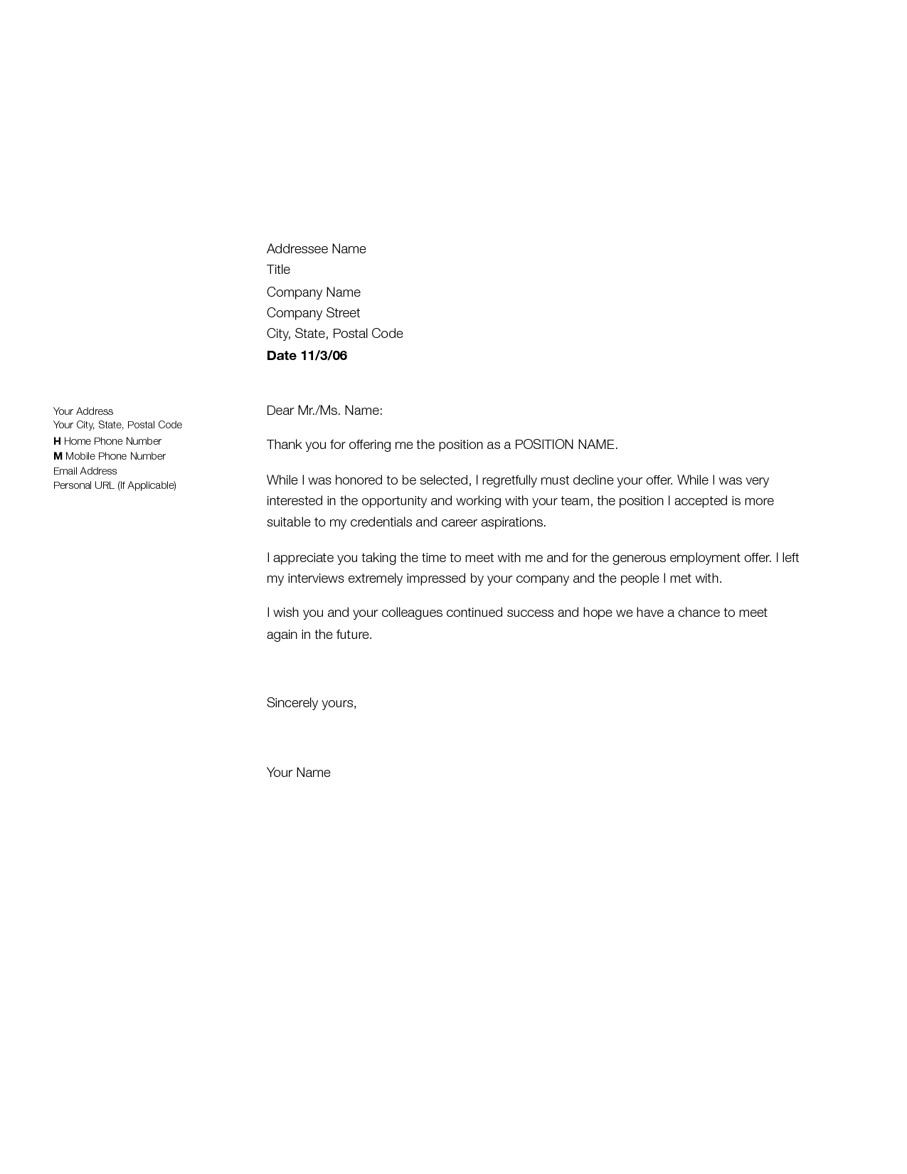 reject offer letter apology letter  offer