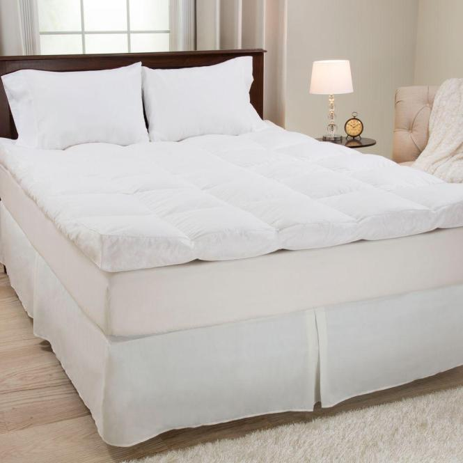 Full Size 4 In H Down And Duck Feather Mattress Topper White