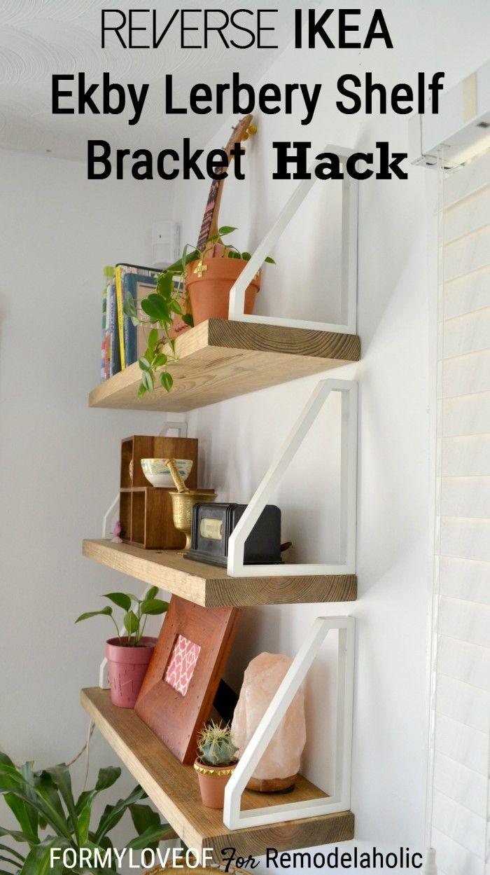 DIY Wall Shelf + Reverse IKEA Ekby Lerberg Bracket Hack