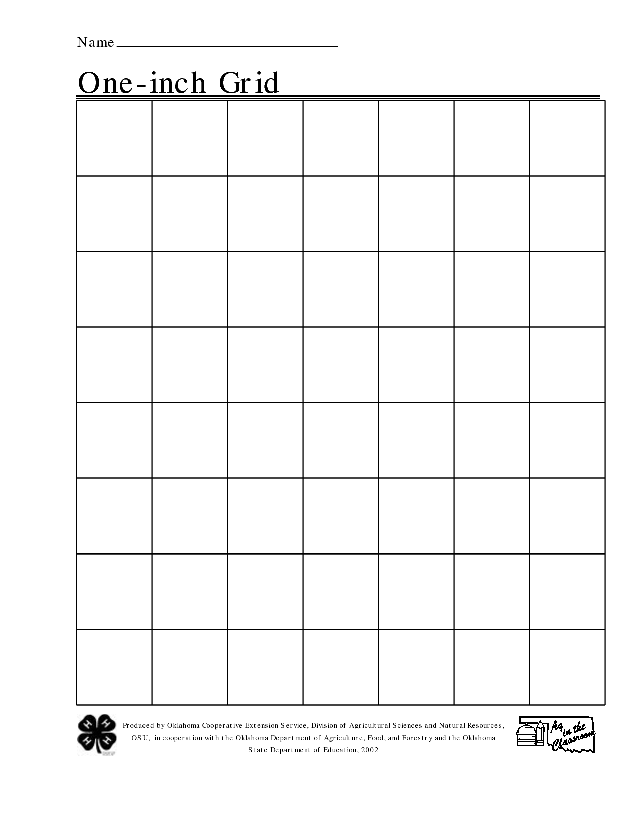 Free Printable 1 Inch Grid Paper