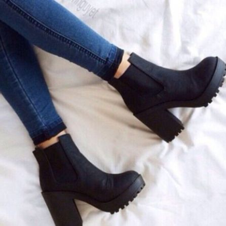 These chunky platform boots are perfect fall boots!