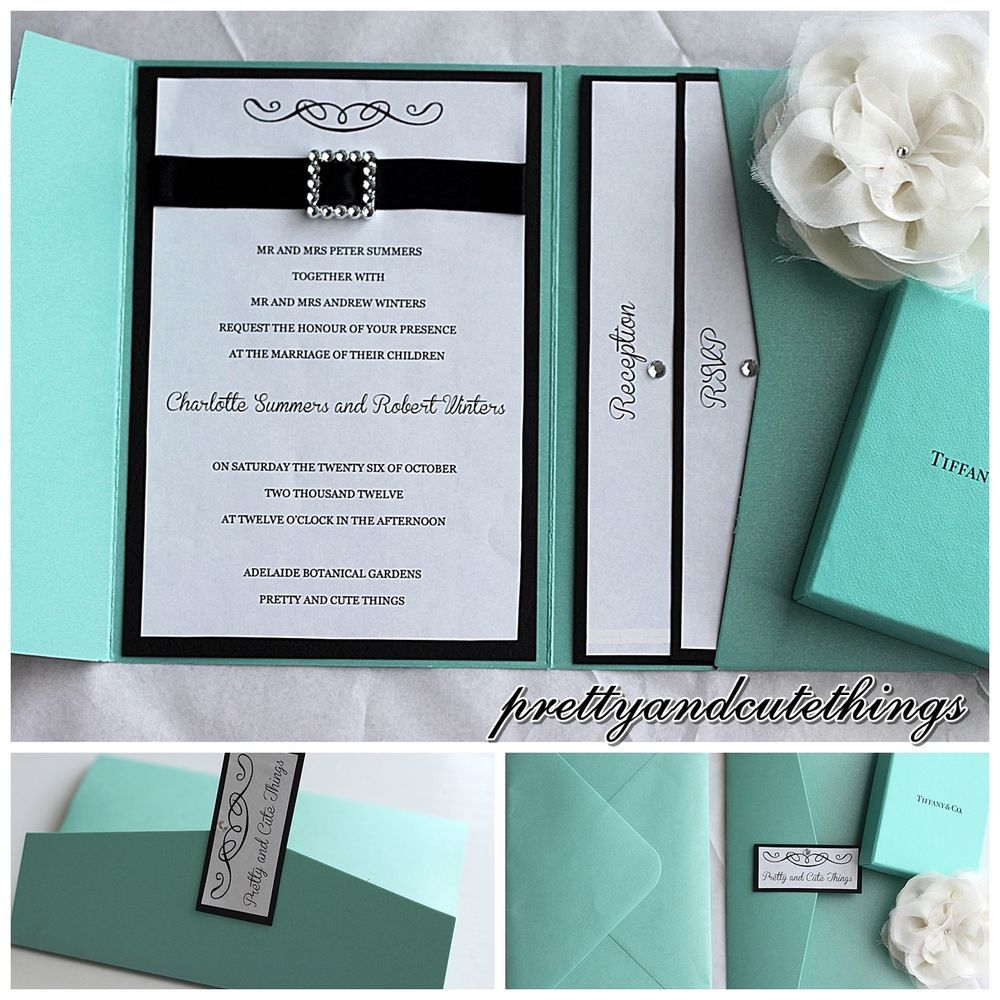 Tiffany co shimmer wedding invitations diy pocket cards