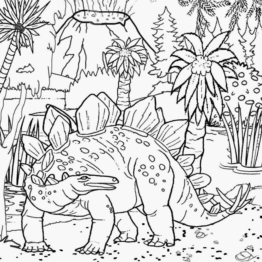 Free Printable Dinosaur Habitat Coloring Pages For Kids