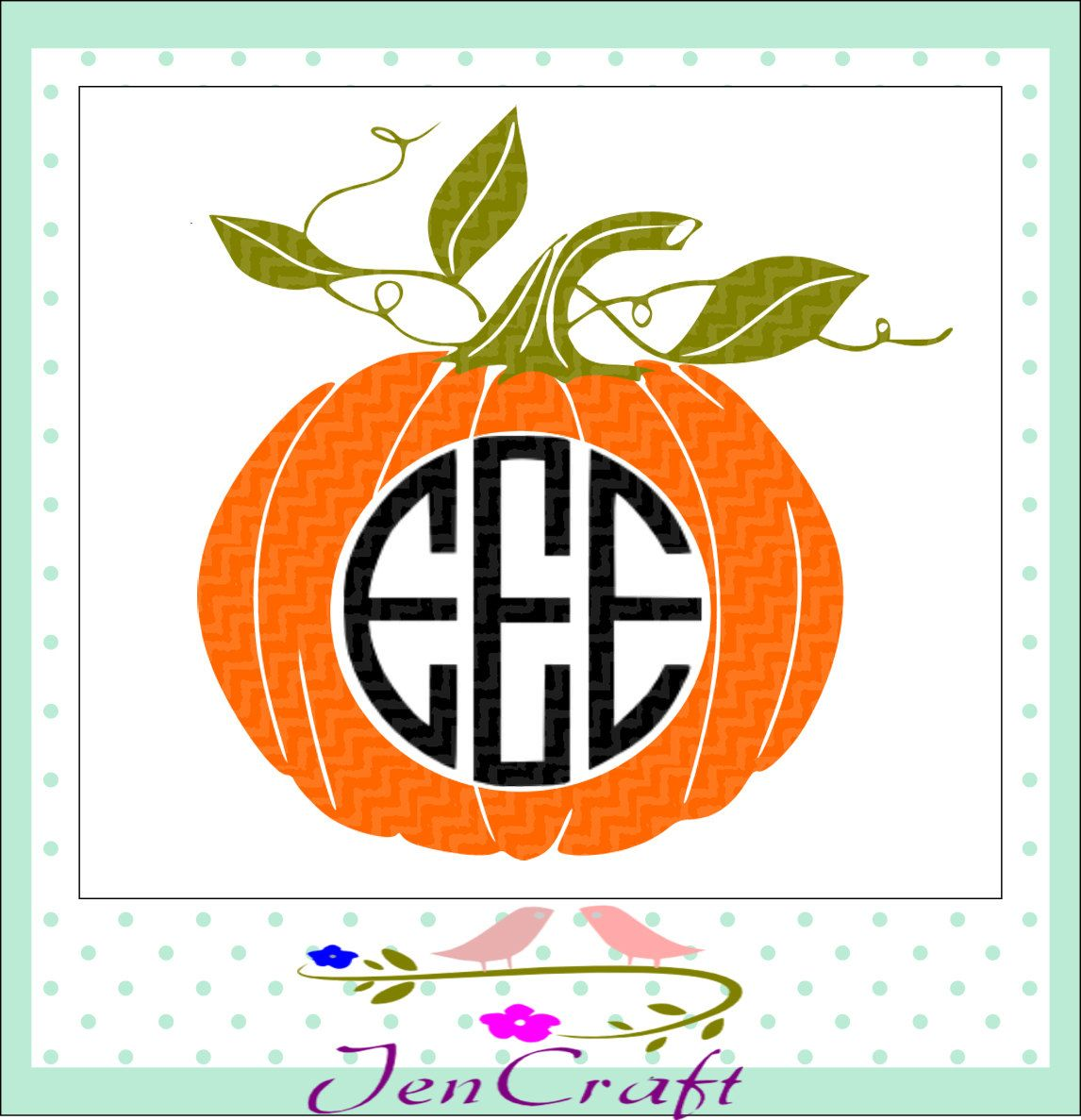 Pumpkin Halloween Monogram Frame, Halloween Designs, SVG