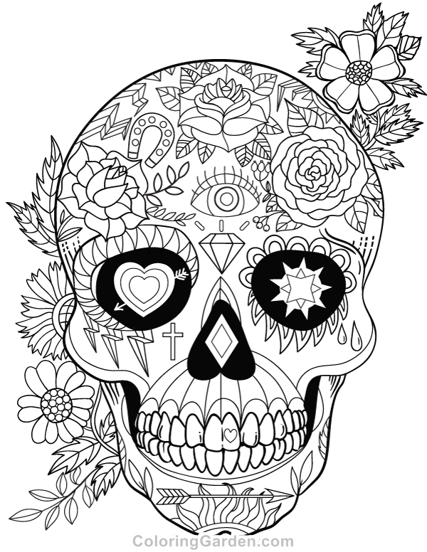 Free printable sugar skull (Day of the Dead) adult