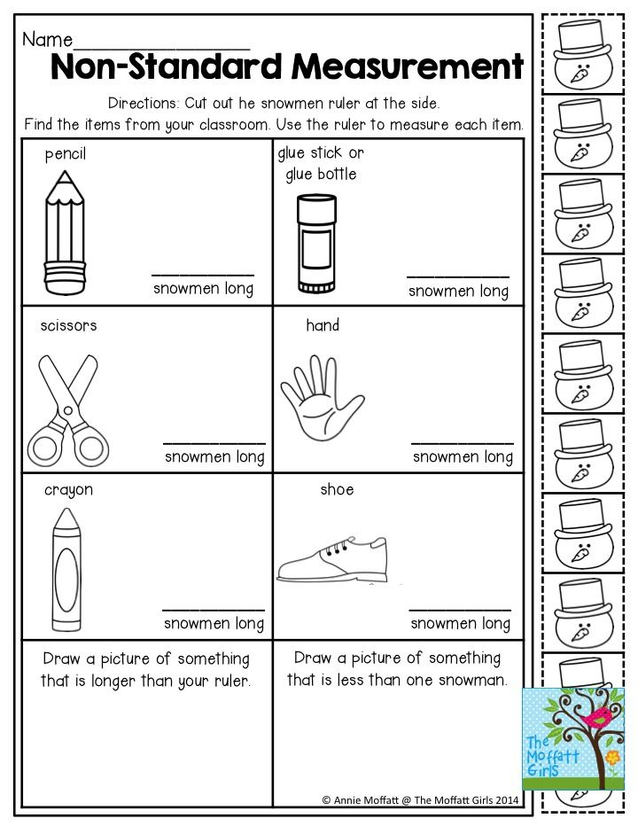 NonStandard Measurement Measuring items with Snowmen