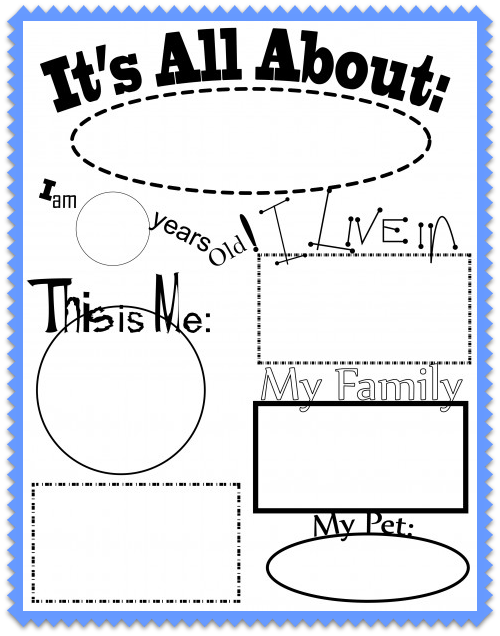 All About Me Worksheet and Song for Kids From Kiboomu