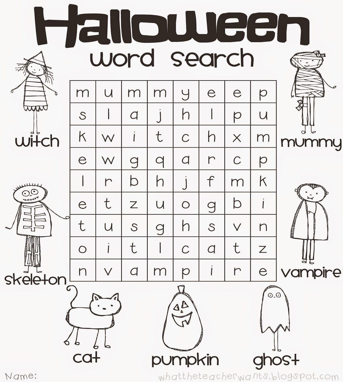 Blog Hoppin Planning A Classroom Halloween Party Halloween Word Search