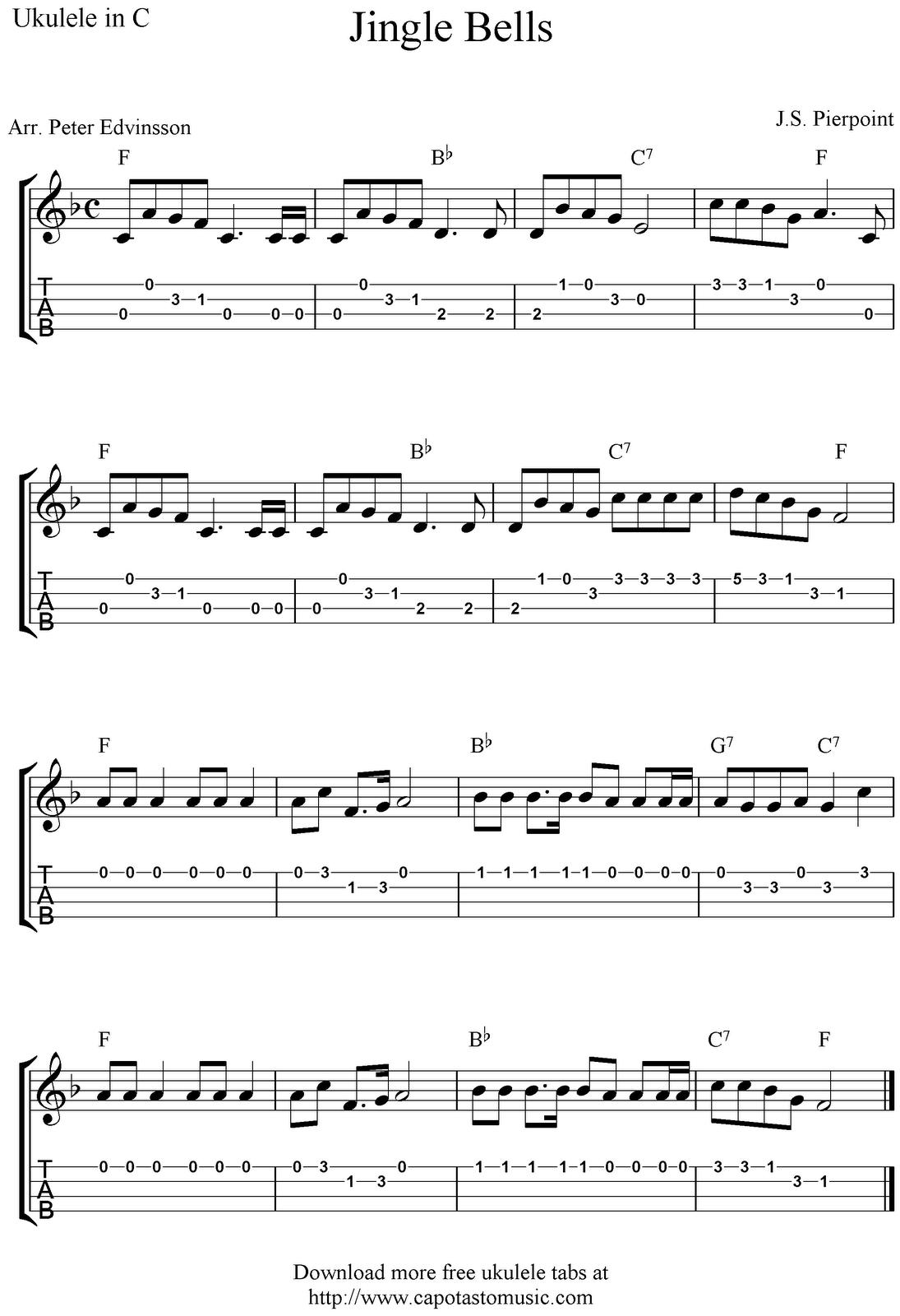 Free Sheet Music Scores Jingle Bells Free Christmas Ukulele Tab Sheet Music
