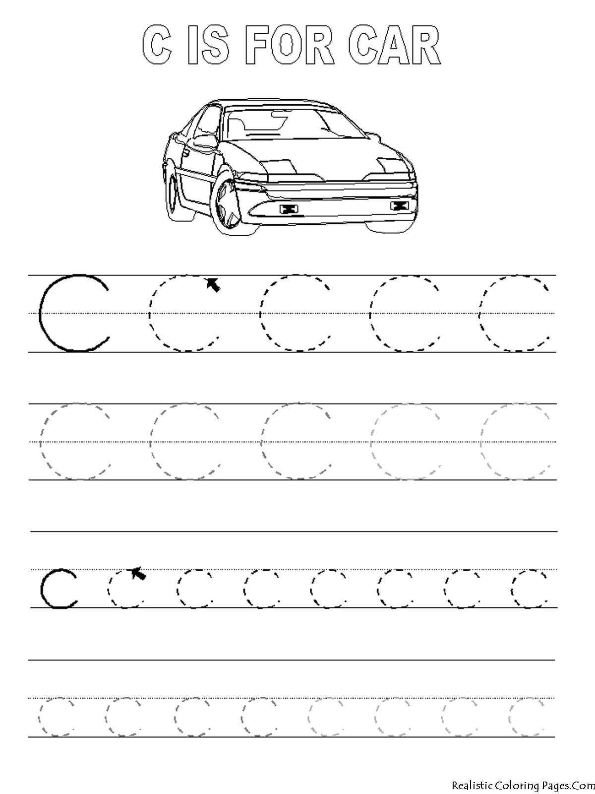 Alphabet Tracer Pages C Car