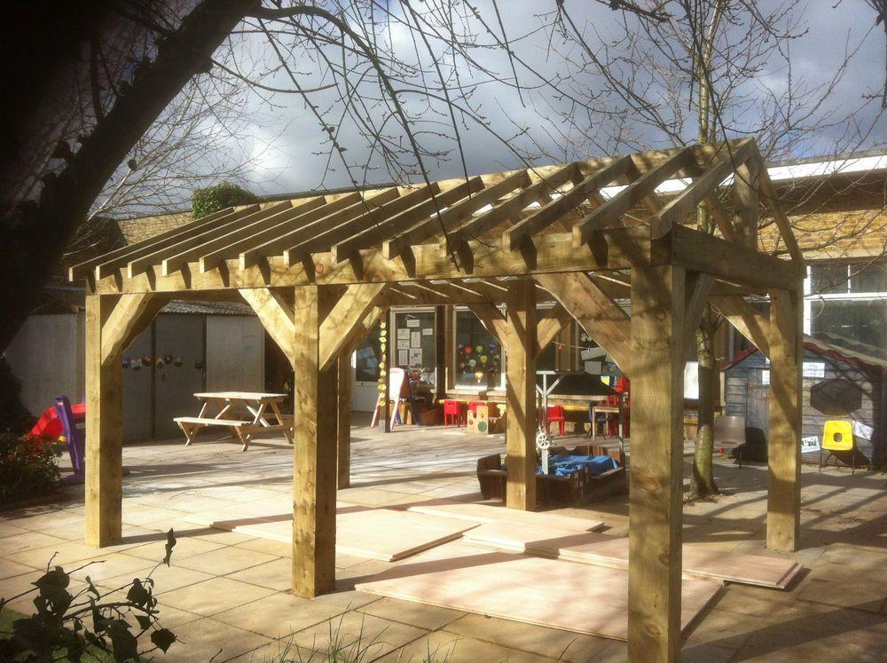 Details about Wooden Garden Shelter Frame, Gazebo, Hot Tub
