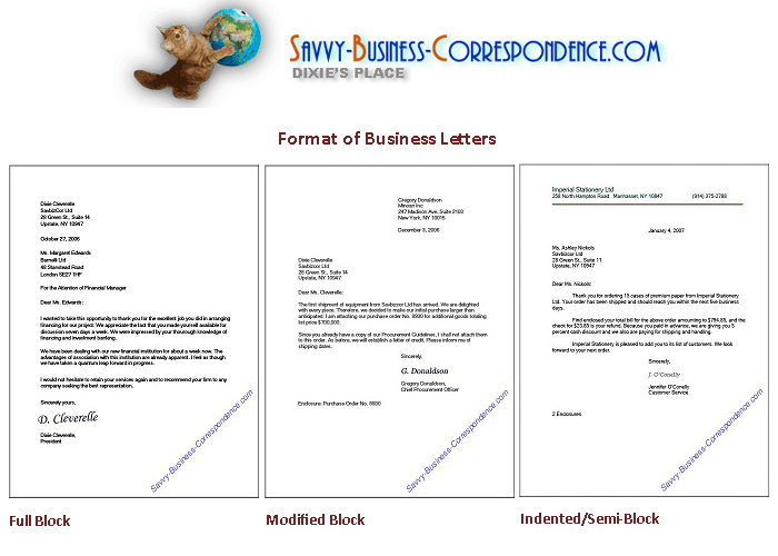 Business letter formats from http//www.savvybusiness