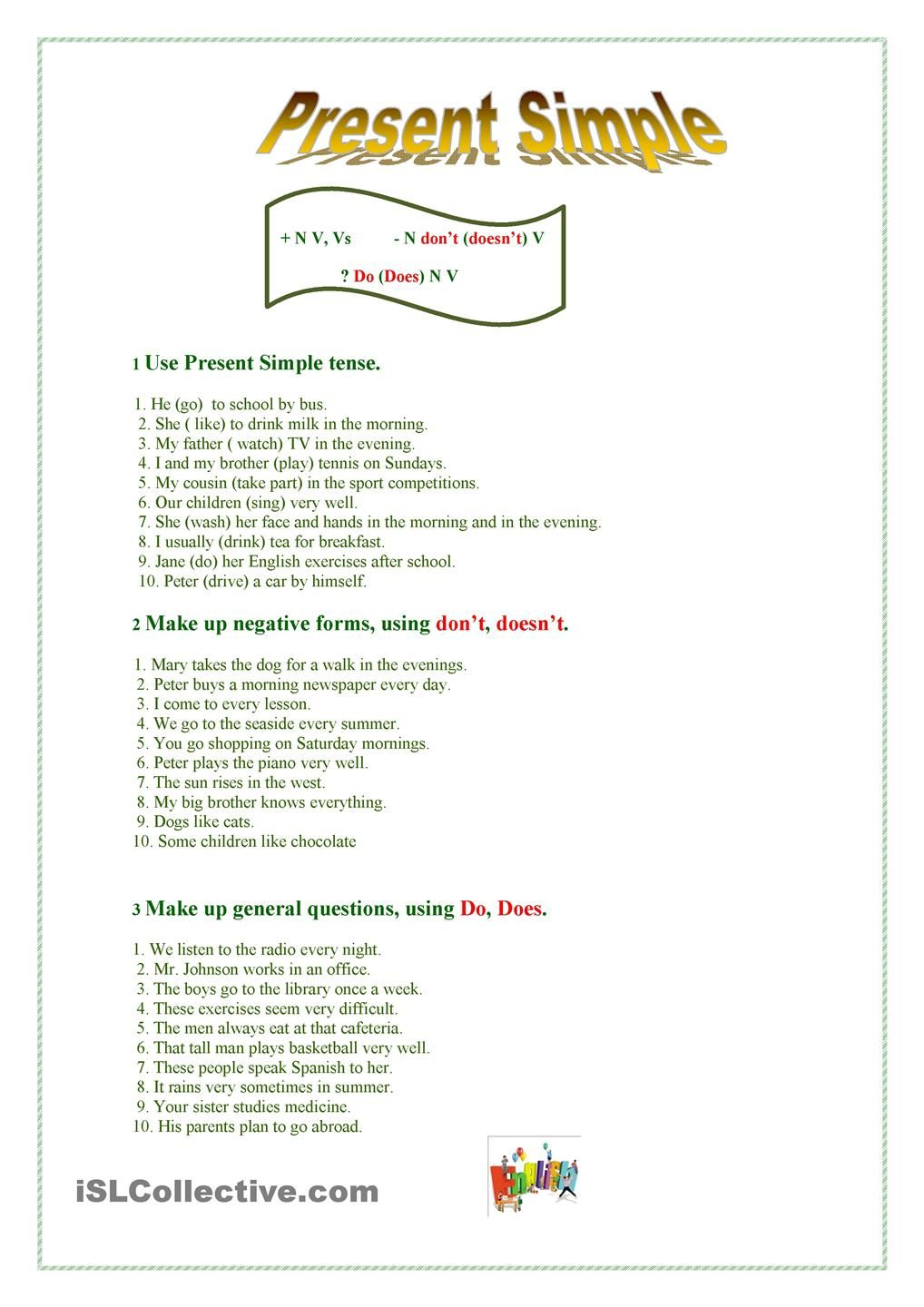 Present Simple ESL worksheets of the day Pinterest