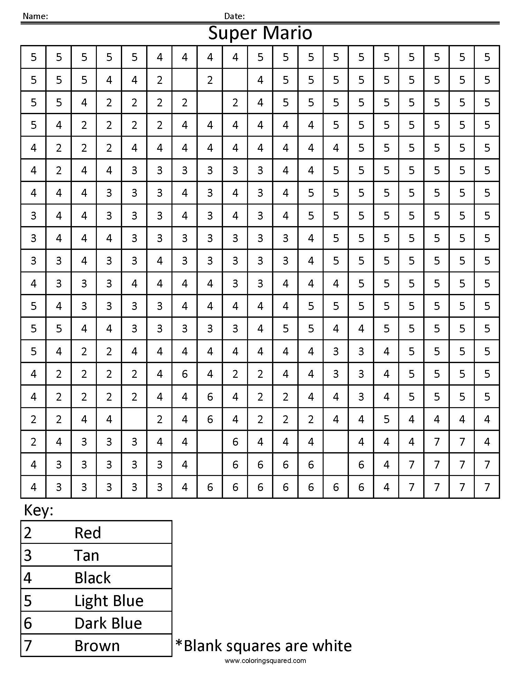 Super Mario Color By Number Worksheet