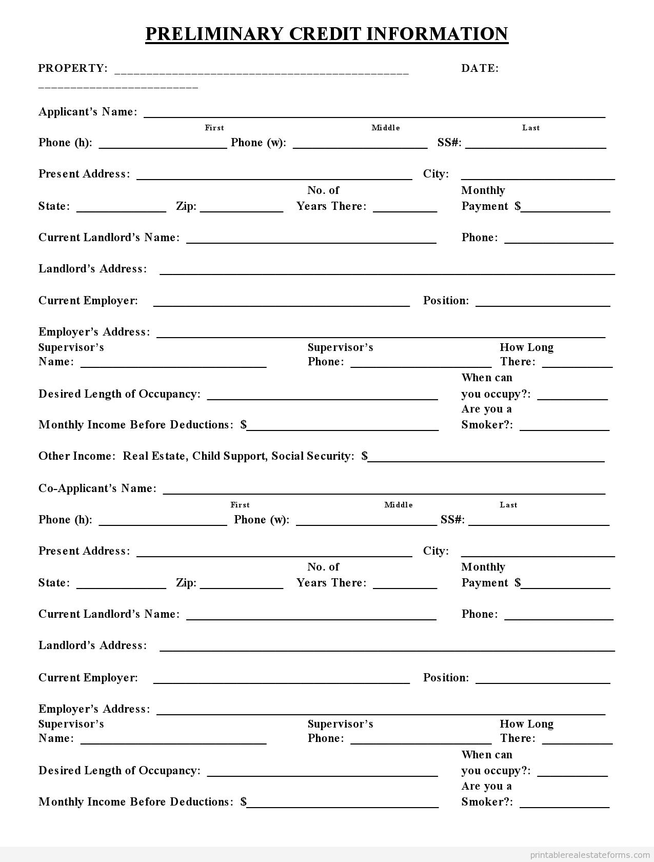Sample Printable Preliminary Credit Application 2 Form
