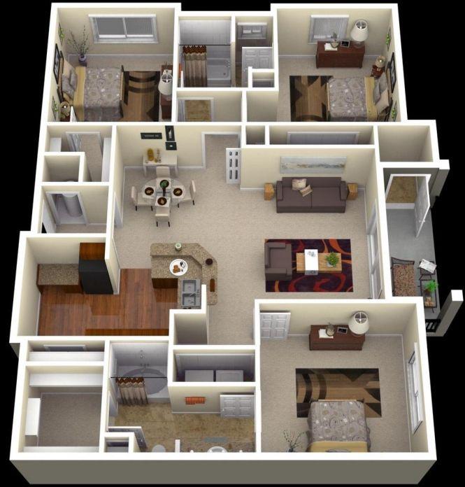 50 Three 3 Bedroom Apartment House Plans