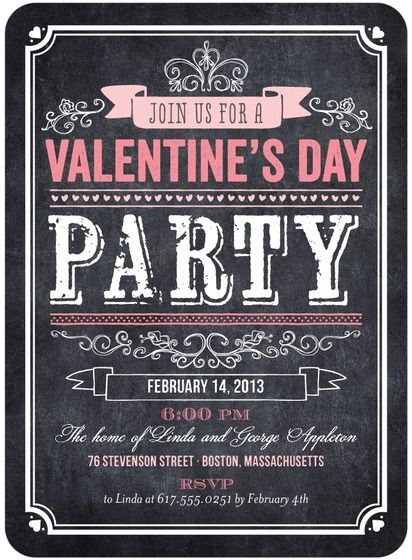 Valentines Day Party Invitations Bold Blackboard By