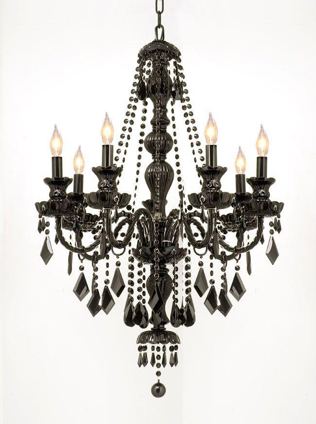 Gallery Crystal Jet Black 7 Light Chandelier Pendant Glass